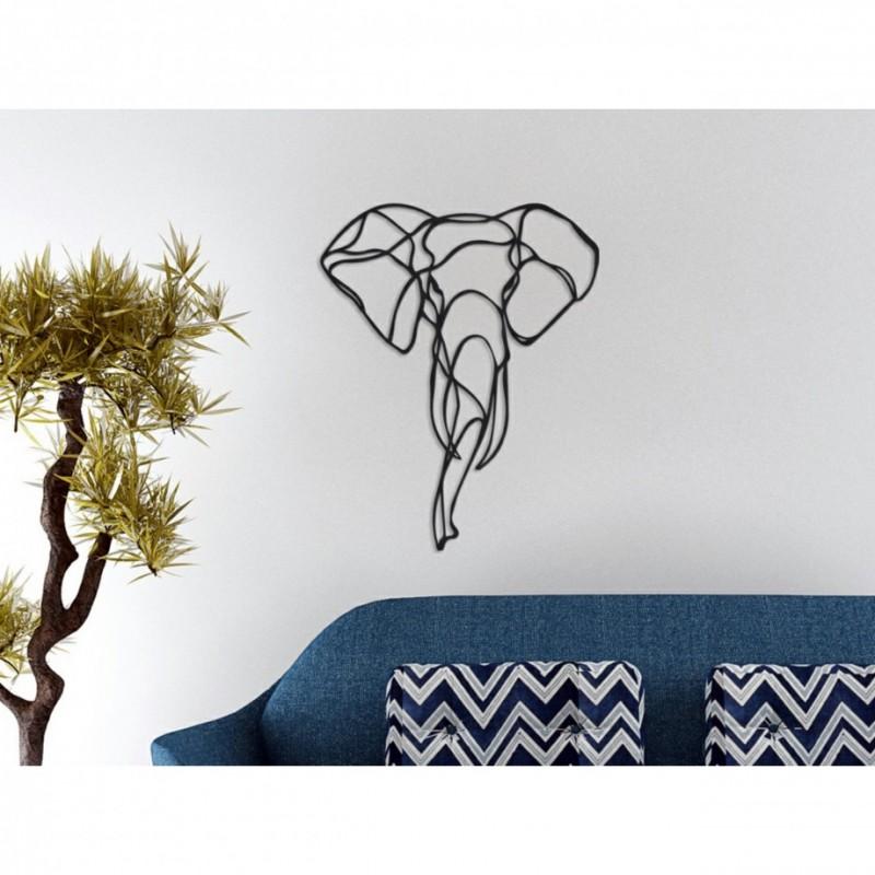 Metal Wall Art Elephant Head 2 Couleur Gris