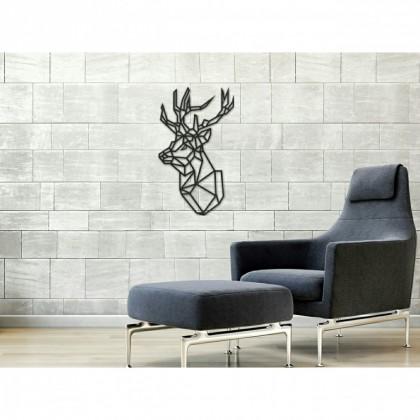 tableau d co en acier t te de cerf 2 couleur gris. Black Bedroom Furniture Sets. Home Design Ideas