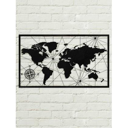 tableau d co en acier carte du monde couleur gris. Black Bedroom Furniture Sets. Home Design Ideas