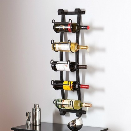 Metal Wall Mount Wine Rack 22x10x106cm Wine Holder Couleur Noir