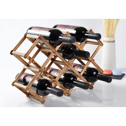 edfe394a5d Luxury Wood Folding Wine Racks Foldable Wine Stand Wooden Wine Holder 10  Drink Bottles Wine Racks Kitchen Bar Display Shelf