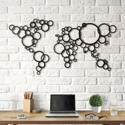 tableau d co en acier cercle de carte du monde couleur gris. Black Bedroom Furniture Sets. Home Design Ideas
