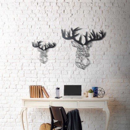 tableau d co en acier t te de cerf couleur gris dimensions. Black Bedroom Furniture Sets. Home Design Ideas